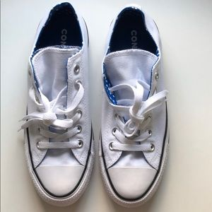 NWT Converse | White/Blue w/ Double Tongues